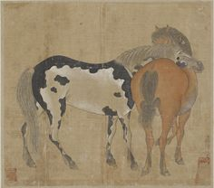Two horses 1644-1911  Han Gan , (Chinese, ca. 715-after 781) Qing dynasty  Ink and color on silk H: 24.5 W: 27.5 cm China