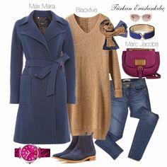 Tan sweater navy coat jeans watch jeans magenta bag navy and brown scarf Tesettür Jean Modelleri 2020 Hijab Chic, Hijab Elegante, Hijab Casual, Hijab Outfit, Muslim Fashion, Modest Fashion, Hijab Fashion, Fashion Outfits, Modest Outfits