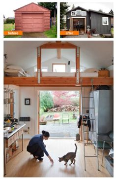 i love the idea of detached garage renovations - it's the perfect opportunity to make something small and perfect for guests or just for having an extra space to hang out