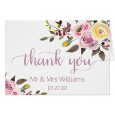 #wedding #thankyoucards - #Sweet Rose Watercolor Floral Wedding Thank You Card