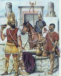 Libio - fenicios en el sur de la Península Ibérica con un guerrero íbero.