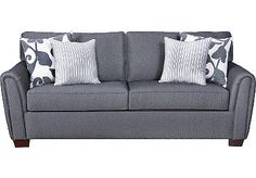 $477 Pemberton Sofa from Rooms to Go  With its classic styling and decorator accents, the Pemberton sofa is a smart choice for your living room. Its grey herringbone fabric is enhanced with a combination of striped and tapestry style toss pillows. Low profile arms and boxed seat cushions add to the appeal.    dimensions: 87L x 39W x 28.5H    Notes: 82% cotton, 13% eco2 cotton, 4% acrylic, 1% nylon