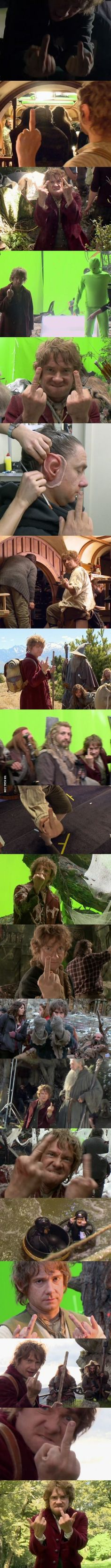 Most Glorious Photos Of Bilbo Baggins Giving The Finger XD Martin Freeman out of character on set of The Hobbit is strangely humorous.
