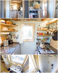 Collage of ideas from a 288 square foot house with 4 separate sleeping areas. | Click through for many fab ideas on living small, from furniture to appliances to a tiny toilet (May 5th, 2014 post). | Tiny Homes