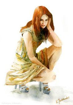 Karen Gillan. Watercolours on paper.