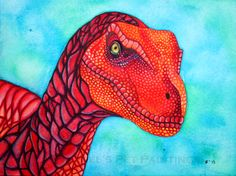 Pop art Dinosaur  8 x 10 Dinosaur Art Print by rachelspetpaintings, $30.00