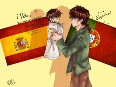 """Espana and Portugal by BlackDiamond13.deviantart.com on @deviantART Spain: """"Hello, big brother Portugal! I want a tomato, please..."""" Portugal: """"...Spain? What? ...Sure."""" According to the artist: I get that Portugal is actually the """"younger"""" brother but since Spain, Magically turned into a chibi--he, at the moment, is the younger brother!"""