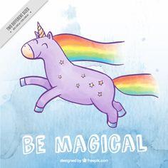 Hand drawn happy unicorn with rainbow Free Vector