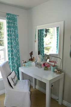 This is sorta how I want my vanity to be set up. This is actually the desk I'm looking to get. (Malm desk from Ikea)