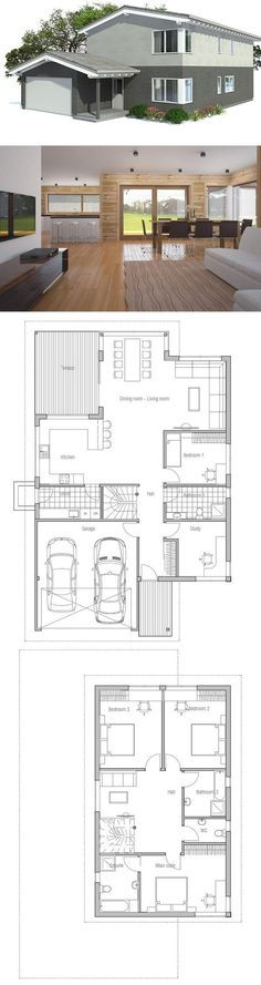 Narrow House Plan, Floor Plan from ConceptHome.com