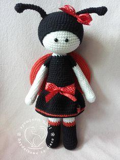 35% SALE Lilly The Ladybird crochet pattern toy par BlueBerryWorld
