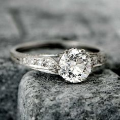 A Beautiful Vintage Engagement Ring. So much detail and yet at the same time so simple and powerful... www.estatediamondjewelry.com
