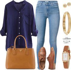 Andrea Moda y Asesoría: Blusa Azul Oscuro Jean Claro