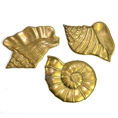 Vintage Brass Sea Shells Trio: Charming shabby beach theme bathroom or lake house nautical decor! Available from OneRustyNail on Etsy. ► http://www.etsy.com/shop/OneRustyNail