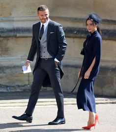 victoria beckham meghan harry royal wedding outfit: Navy shift dress guest outfit navy Victoria Beckham Just Explained How She Chose Her Royal Wedding Outfit Royal Wedding Guests Outfits, Wedding Guest Shoes, Wedding Suits, Smart Wedding Guest Outfits, Wedding Men, Dress Wedding, Red Shoes Outfit, Navy Dress Outfits, Navy Midi Dress