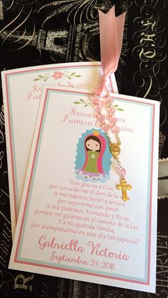 Printed Holy Baptism, Christening, First Communion, La Virgencita, Our Lady of Guadalupe Prayer or Remembrance Card With Rosary Favor