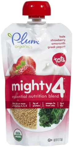Plum Organics Mighty 4 Purees - Kale Strawberry Amaranth & Greek Yogurt