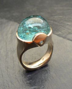 Ring of 14kt yellow gold with 19.76ct aquamarine and diamond accents oval ($   2,250, karenbandy.com)