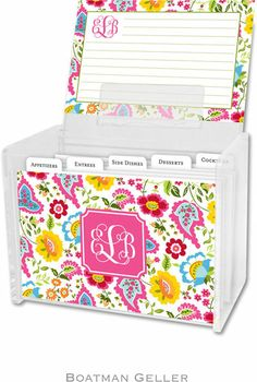 Boatman Geller Recipe Boxes with Cards - Bright Floral Preset (RB2-preset)