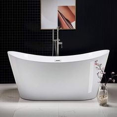 "WOODBRIDGE Modern Bathroom Glossy Acrylic Free Standing Bathtub/White, 67"" B-0010 Without Faucet - - Amazon.com Modern Bathtub, Modern Bathroom, Small Bathroom, Freestanding Bathtub, Bathroom Ideas, Best Bathtubs, Soaking Bathtubs, Outdoor Storage Sheds, Wood Bridge"