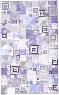 A Kaffe Fassett quilt - each square is four triangles of striped shirt fabric