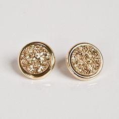 Gold Druzy Earring