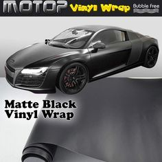 """24""""x60"""" Matte Black Vinyl Wrap Film Car Sticker Decal Sheet with Air Bubble Free #Unbranded"""