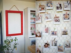 diy chicken wire frame, attach photos with cute tiny clothespins. would be great in my kitchen. love this whole blog.
