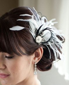$68 Wedding Hair Accessory, Bridal Feather Fascinator, Black and Diamond White Hair Accessory, Bridal Head Piece  - CARLY
