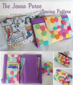 A simple clutch wallet sewing pattern. I like how the cards are slotted in a different way on this wallet.