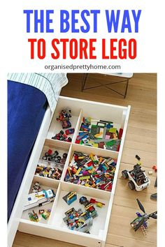 What is the best way to store the kids' Lego? Check out these lego storage & organization ideas and solutions. - Organised Pretty Home Lego Storage Drawers, Diy Toy Storage, Storage Ideas, Storage Solutions, Storage Organizers, Playroom Organization, Home Organization Hacks, Playroom Printables, Ikea Kids Playroom