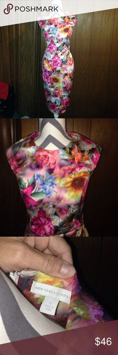 Floral new York and Company scuba dress In excellent condition worn one time floral printed scuba dress from New York and company smoke-free pet free home New York & Company Dresses Midi