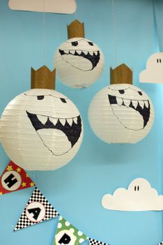 Mario Kart Wii Birthday Party paper lantern decorations! See more party ideas at CatchMyParty.com!
