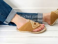 Crochet pattern thong sandals with rope solesslip