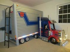 Boys Bed #OptimusPrime My 6 and 10 year old sons would love this! #BoysBedroom