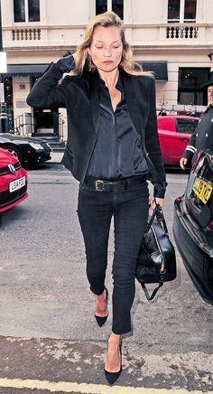 Black on black on black // #KateMoss #style #icon
