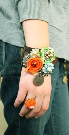 Corsage bracelet. PERFECT for upcycling jewelry and fabric scraps.