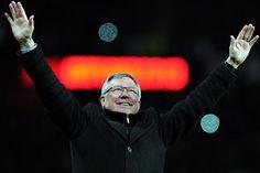 Sir Alex Ferguson celebrating United's 20th league title.