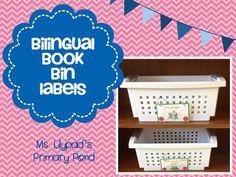 Bilingual book bin labels - for an English or bilingual classroom! $