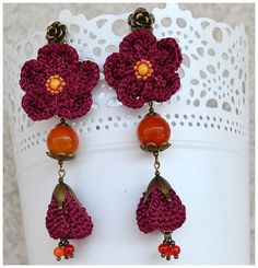 elegant silk purple flowers earringspurple orange by Marmotescu