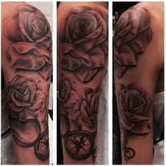 #compass and #roses #tattoo by Glen Hartless.