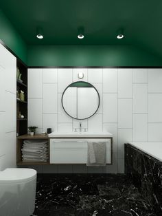 Bathroom styling with green