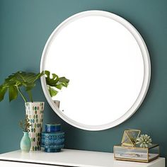 "Floating Round Wood Mirror - White #westelm - 30""diameter x 3""d - $249 (less 40% is $149.40)"