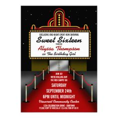 Red Carpet Theater Sweet 16 Party Invitation