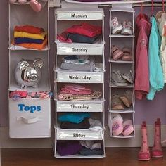 """Avoid morning-time """"which outfit"""" hassle. Buy a 5 section closet organizer and on Saturday or Sunday, have your child choose which outfits they want to wear to school each day. Neat idea! :)"""