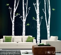Tall Birch Trees with flying birds -Art Wall Sticker Wall Decal Tree Decal