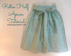 Make a Retro Half Apron - Amazing Graze Farm Half Apron Patterns, Apron Pattern Free, Vintage Apron Pattern, Aprons Vintage, Vintage Sewing Patterns, Dress Patterns, Crochet Patterns, Sewing Aprons, Sewing Clothes
