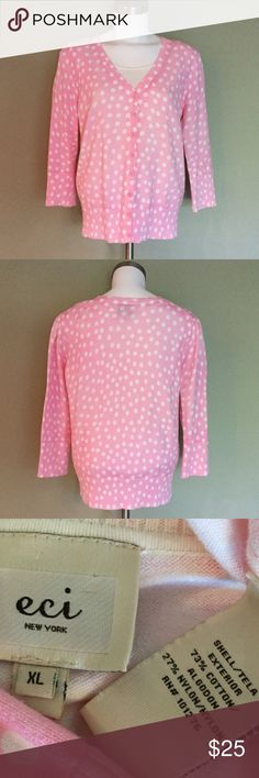 ECI Cardigan, polka dot  ECI New York soft pink with cream colored polka dots. Button cardigan super cute with the  Ellen Tracy cream tank in my closet.  Great condition. Wide banded sleeves and sweater bottom for accent. 3/4 quarter sleeves make it the perfect sweater for summer. Size XL. ECI Sweaters Cardigans