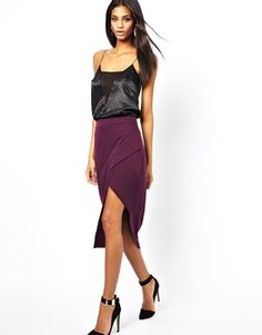 Image 1 ofASOS Pencil Skirt with Pleat Front and Side Split