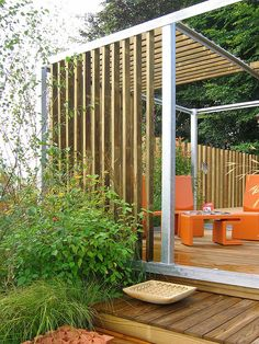 Not a green wall but clever use of materials to create seating space.